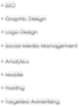 • SEO • Graphic Design • Logo Design • Social Media Management • Analytics • Mobile • Hosting • Targeted Advertising